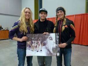 Anna and Kristy Berington pictured with Derek Ambrose nephew of musher Louie Ambrose